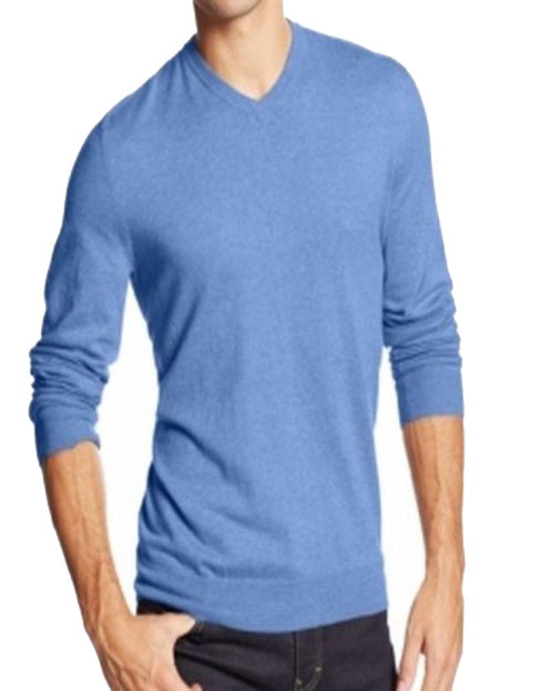 Club Room Cashmere Blend Heather Blue V-Neck Sweater Mens XXL
