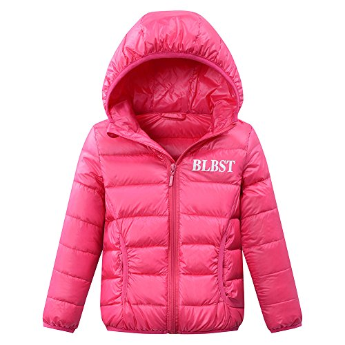 LISUEYNE Boys Girls Kid Winter Hooded Down Coat Lightweight Puffer Jacket Hoodies Parka Pink