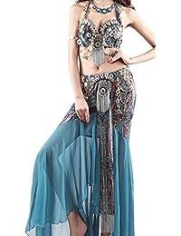 Silk Dance Bra Belly Dance Suit Set Black & Blue Zircon 2 Colors 3 Sizes