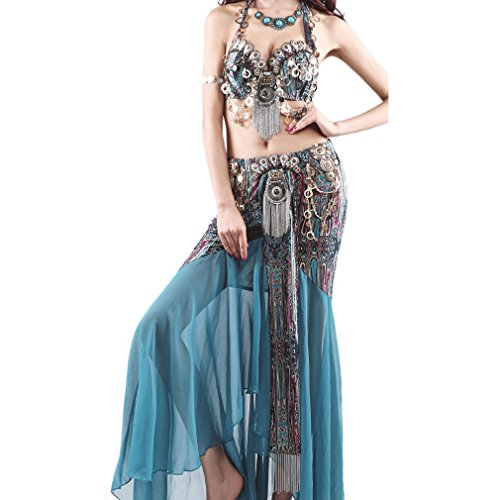 UPRIVER GALLERY Silk Dance Bra Belly Dance Suit Set Blue Zircon M 78-83cm -