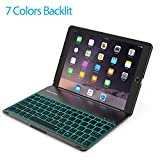 Keyboard Case Compatible 2017 iPad 9.7 inch 5th Gen& iPad Air &2018 iPad(6th Gen)-Backlit Bluetooth Keyboard, Back Hard Folio Cover, Aluminium Alloy-for Model:A1822/A1823/A1474/A1475/A1476/A1893