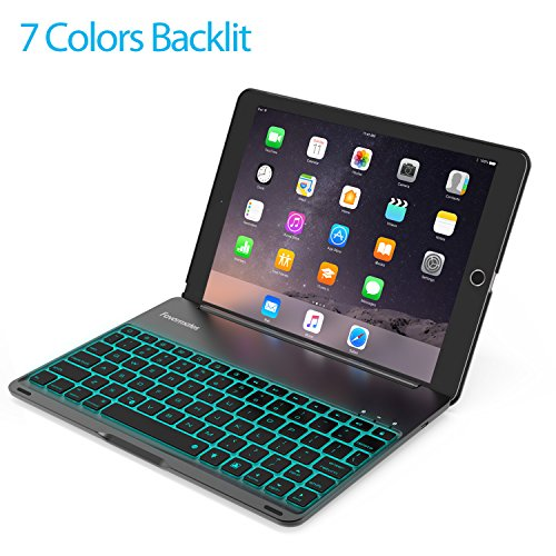 Keyboard Case for 2017 New iPad 9.7 inch & iPad Air-LED 7 Colors Backlit Wireless Bluetooth keyboard, Back Hard Folio Case Cover,Ultra Slim,Aluminium Alloy-For model:A1822/A1823/A1474/A1475/A1476 (Case Apple For Keyboard Ipad With)