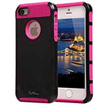 iPhone 4S Case, iPhone 4 Case, TPU + Pc Dual Layer Hybrid Fashion Shockproof Soft Hard Defender Case Cover for Apple iphone 4/ 4S (Black-Hot pink)