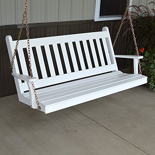 A&L Furniture Co. Traditional English Porch Swing (4 Foot, White Paint)