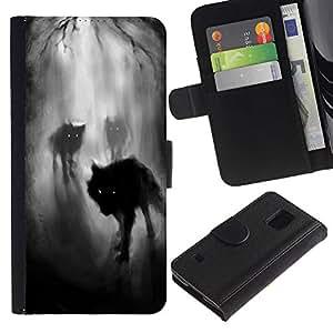 Niebla Noche Oscuro Bosque del hombre lobo- la tarjeta de Crédito Slots PU Funda de cuero Monedero caso cubierta de piel Para Samsung Galaxy S5 V SM-G900