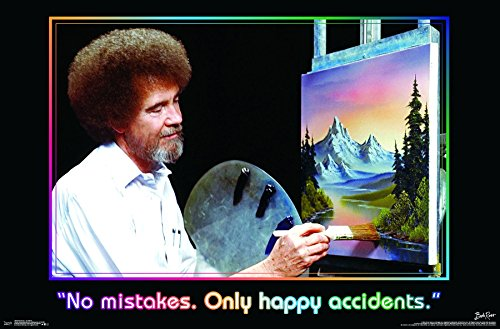 Trends International Bob Ross – No Mistakes. Only Happy Accidents Wall Poster, 22.375″ x 34″, Unframed Version