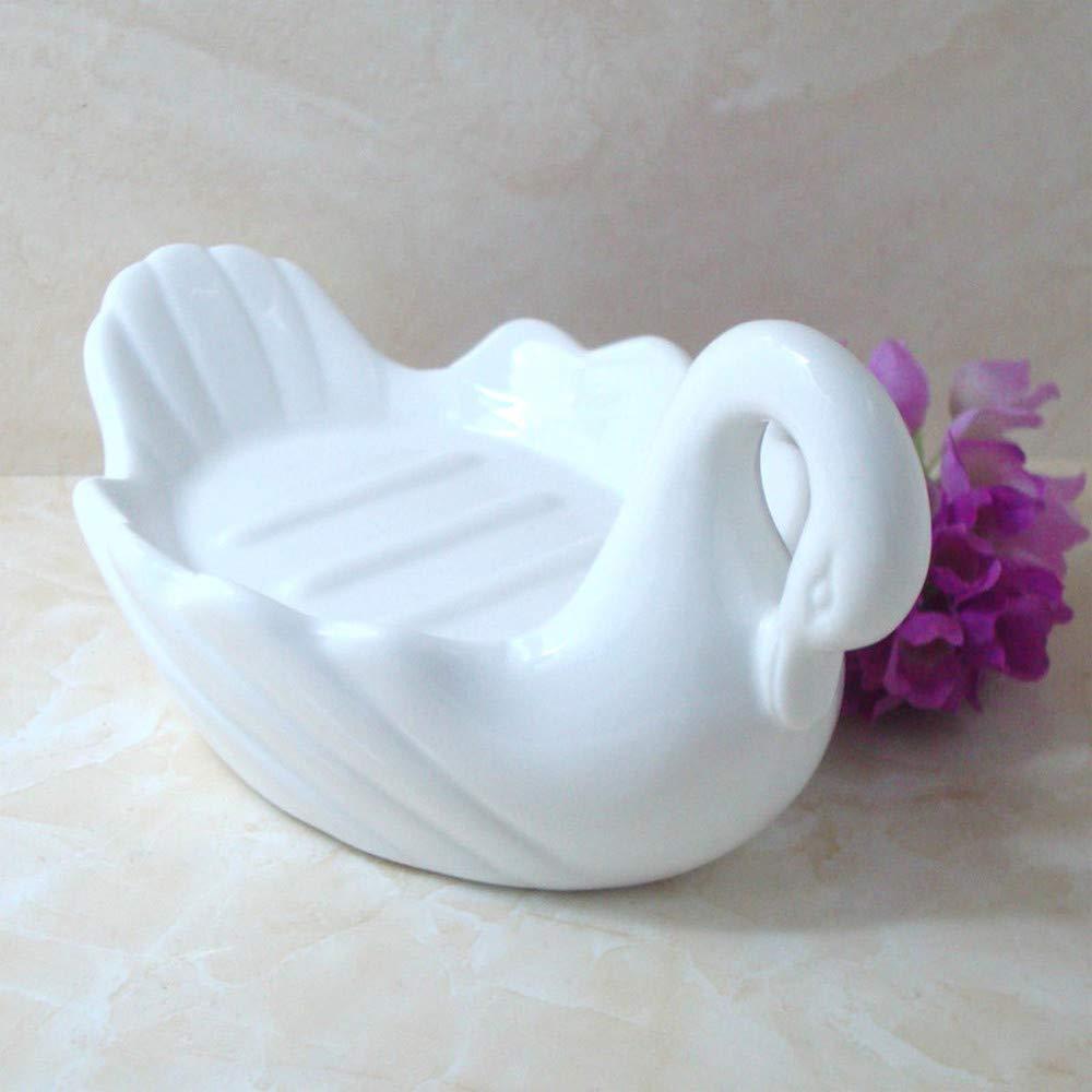 Realizzato a Mano WANZSC Lo1061149 Portasapone in Ceramica a Forma di Cigno Colore: Bianco Puro