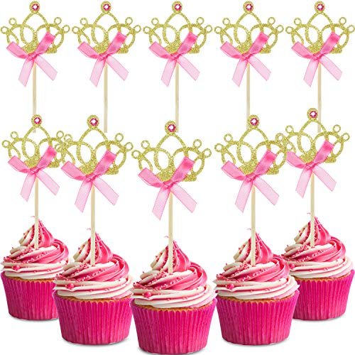 Small Tiaras For Cupcakes (60 Pieces Gold Crown Cupcake Toppers Tiara Cupcake Toppers Crown Cake Picks with Pink Bows for Wedding Birthday Baby Shower)