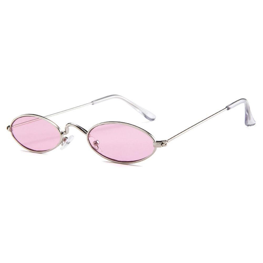 Aolvo Small Oval Sunglasses, Mini Vintage Stylish Round Eyeglasses HD for Men Women Girls Black Frame Grey Lens
