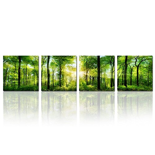 Hello Artwork - Summer Forest in Sunshine Landscape Panoramic Giclee Canvas Prints Paintings on Canvas Wall Art for Living Room Decorations Canvas Set of 4 Ready to Hang (12''x12''x4pcs) Panoramic Poster