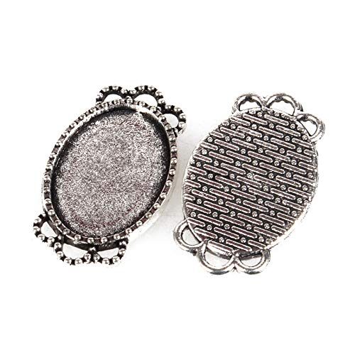 (Pandahall 10pcs Vintage Tibetan Style Antique Silver Blank Bezel Cabochon Settings 18x13mm Inner Diameter Oval Frame Pendant Tray Chandelier Link Connector Charms)