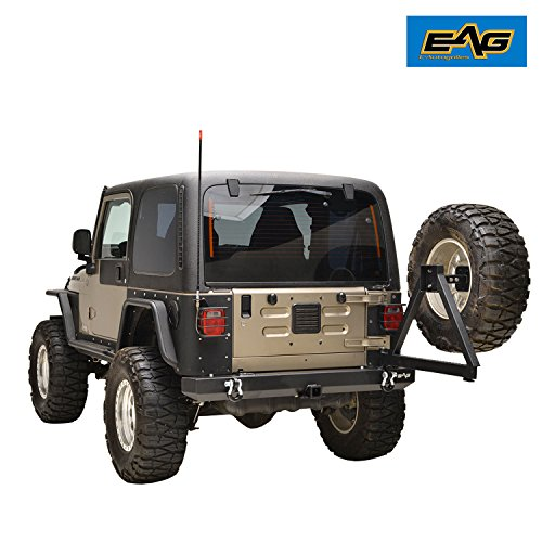 EAG 87-06 Jeep Wrangler TJ/YJ Black Textured Rear Bumper with Tire Carrier