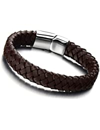 Minimalist Brown Braided Leather Bracelet for Men Women Genuine Leather Bangle Wristband