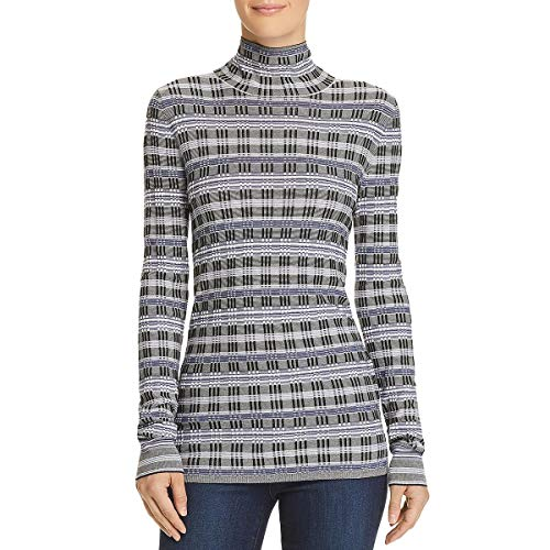 Theory Women's Fitted Turtleneck, Black/Eggshell/Admiral, Small (Theory Striped Sweater)