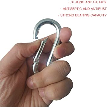 2 Pack - 3-1//4 x 5//16 Silver NANWUJI 80mm x 8mm Zinc-Galvanized Steel Carabiner Snap Link Hook for Outdoor Climbing Camping Hiking Hammock Swing