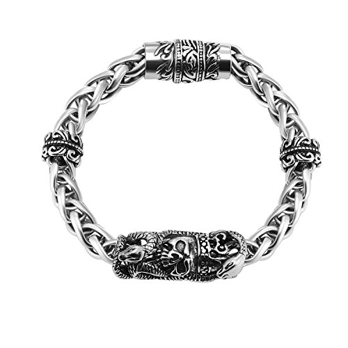 skull bracelet chain punk men jewelry - 9