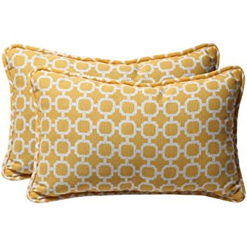 pillow perfect decorative yellowwhite geometric rectangle toss pillows 2pack