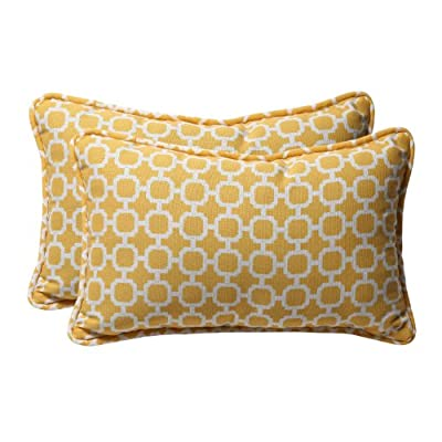 Pillow Perfect Decorative Yellow/White Geometric Rectangle Toss Pillows, 2-Pack - Includes two (2) outdoor pillows, resists weather and fading in sunlight; Suitable for indoor and outdoor use Plush Fill - 100-percent polyester fiber filling Edges of outdoor pillows are trimmed with matching fabric and cord to sit perfectly on your outdoor patio furniture - living-room-soft-furnishings, living-room, decorative-pillows - 51VHjfrzRpL. SS400  -