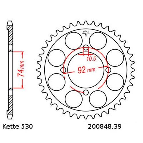 A,B DID Kette 530S für YAMAHA RD250 Baujahr 73-75
