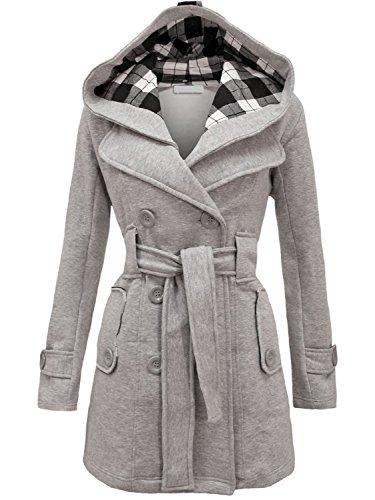 NOROZE Womens Long Sleeve Belted Button Fleece Coat