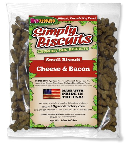 K9 Granola Factory Simply Biscuits with Cheese and Bacon, Small, 16 oz For Sale