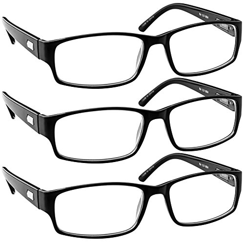Reading Glasses 5.00 Black 3 Pack Always Have a Timeless Look, Crystal Clear Vision, Comfort Fit with Sure-Flex Spring Hinge Arms & Dura-Tight ()