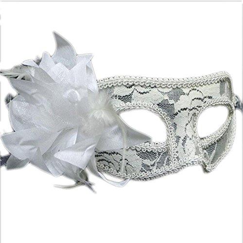 [QINJH Halloween Mask Blonde Mask Transparent Lace Mask Side Lily Flower Mask Beauty Goggles (White)] (Alien Resurrection Costume Design)