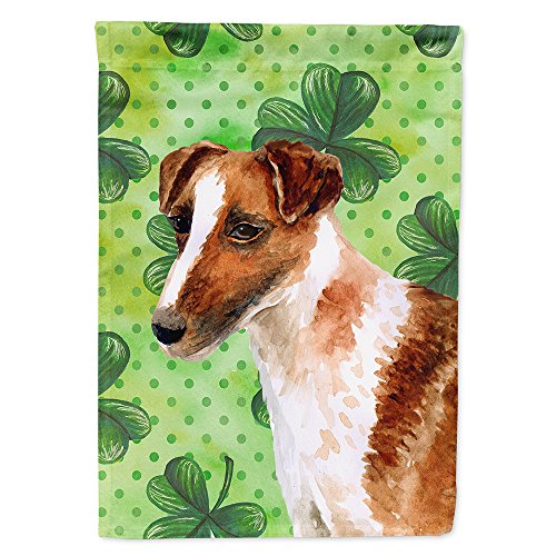 Caroline's Treasures BB9821CHF Smooth Fox Terrier St Patrick's Decorative Canvas Outdoor Flag, House Size Multicolor ()