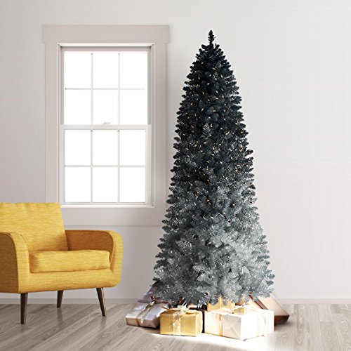 Treetopia 6ft Silver Green Ombre Christmas Tree Clear LED Lights (Large Image)