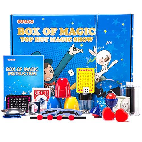 SUMAG Magic Trick Sets, Magic Kits with Magic Wand for Kids, Beginners, Amazing Magic Toys Halloween Christmas, Magic Manual and Instruction DVD (Blue) Dvd Amazing Magic Tricks