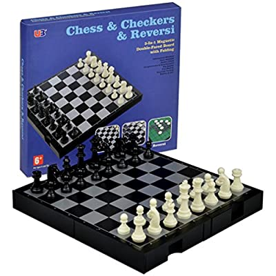 3 in 1 Magnetic Travel Chess, Checkers and Reversi Set, 9.75 Inches x 9.25 Inches