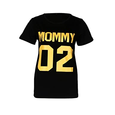 530c5fd09 Amazon.com: 2018 Family Matching Clothes, Mom Dad & Baby Number 2 Letter  Tops T-Shirt: Clothing