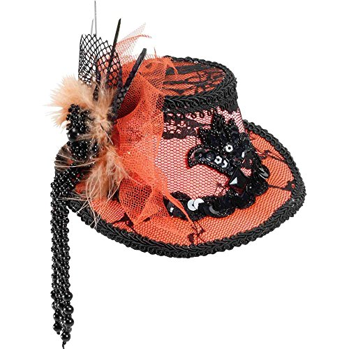 Mini Orange Lace Top Hat