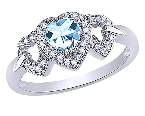 0.125 CT Heart Cut Simulated Blue Topaz & Diamond Triple Heart Ring in 10K White Gold 0.125 Ct Heart