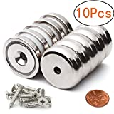 Neodymium Disc Countersunk Hole Magnets Rare Earth Magnets with 10 Screws 10 Piece 32mm x 6.8mm Pot Magnets
