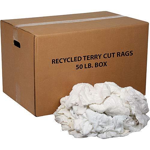 50ポンド Box プレミアムリサイクルコットンテリーカットラグ ファクトリーアウトレット B07J1NBLVY ホワイト 大放出セール