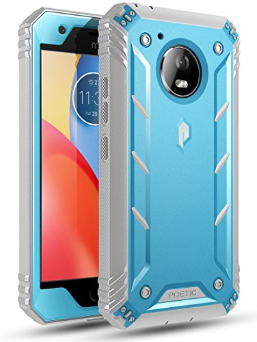 Moto E4 Plus Rugged Case, Poetic Revolution [360 Degree Protection] Full-Body Rugged Heavy Duty Case with Built-in-Screen Protector for Motorola Moto E4 Plus Blue