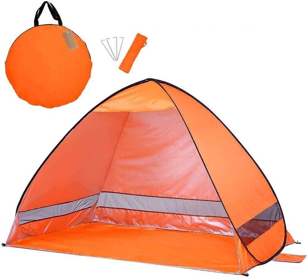 Automatische campingtent, Ru-strandtent Tent voor 2 personen Instant Pop-up Open anti-uv luifeltenten Outdoor zonnescherm Orange