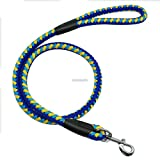 LOVELY Pet Dog Training Leash Heavy Duty Braided Lead For Medium And Large Dogs 4Ft Long Blue Yellow L
