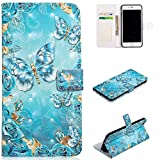 for iPhone 6 Plus/6S Plus Wallet Case and Screen Protector,QFFUN Glitter 3D Pattern Design [Blue Butterfly] Magnetic Stand Leather Phone Case with Card Holder Drop Protection Etui Bumper Flip Cover