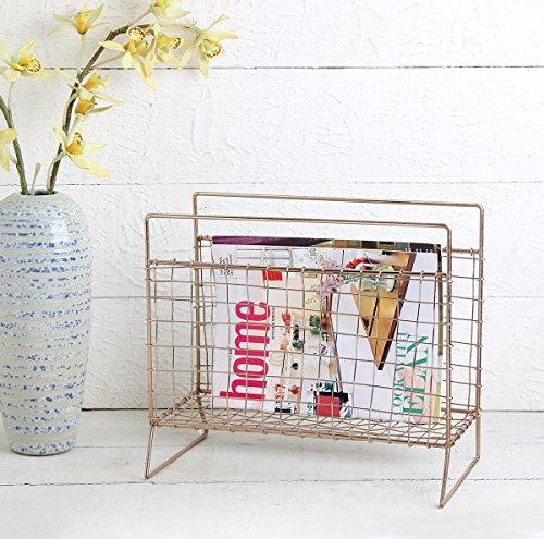 Handmade Rose Gold Magazine Rack Metal Newspaper and File Latter Holder Storage Basket for Bathroom, Office, Entryway