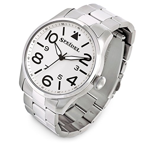 Speidel Pilot Watch with White Face and Stainless Steel Band