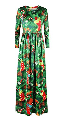 Pockets Length Dasbayla With Christmas Sleeve Dresses Women Full Xmas Maxi Long Tree WWUzX6q