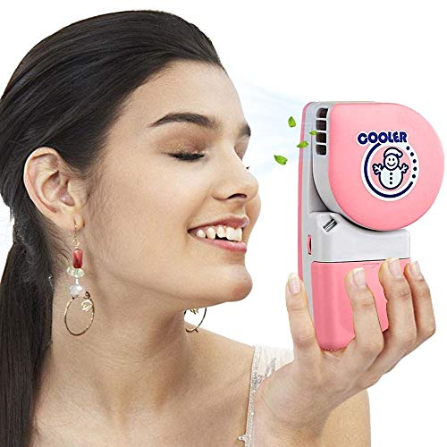 LUCKSTAR Handheld Cooler Fan - Small Fan Mini-Air Conditioner Speed Adjustable Summer Cooler Fan With Water Bottle Powered by Batteries or USB Cable for Home / Office / Travel / Outdoor (Pink) by LUCKSTAR (Image #6)