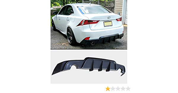 Rear Bumper Diffuser Compatible With 2014-2016 Lexus IS250 IS350 IS200T 2015 Rear Lower Bumper Lip Diffuser PP Unpainted Black by IKON MOTORSPORTS