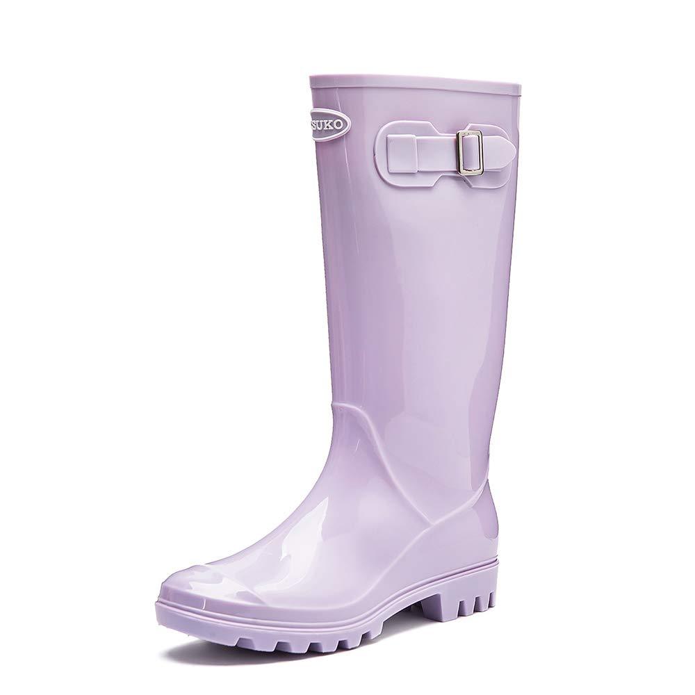Purple DKSUKO Women's Rain Boots Waterproof Knee High Wellington Boots