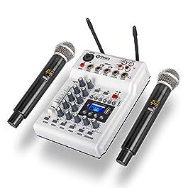 Debra Audio DJ Console Mixer Soundcard with 2channel UHF wireless microphone for Home Studio Recording DJ Network Live…