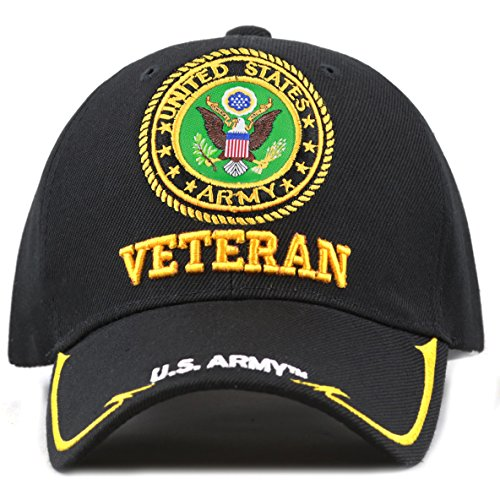 8ce4c239bf5 THE HAT DEPOT Military Licensed 3D Embroidered Veteran Baseball Cap (Black-U.S.  Army)