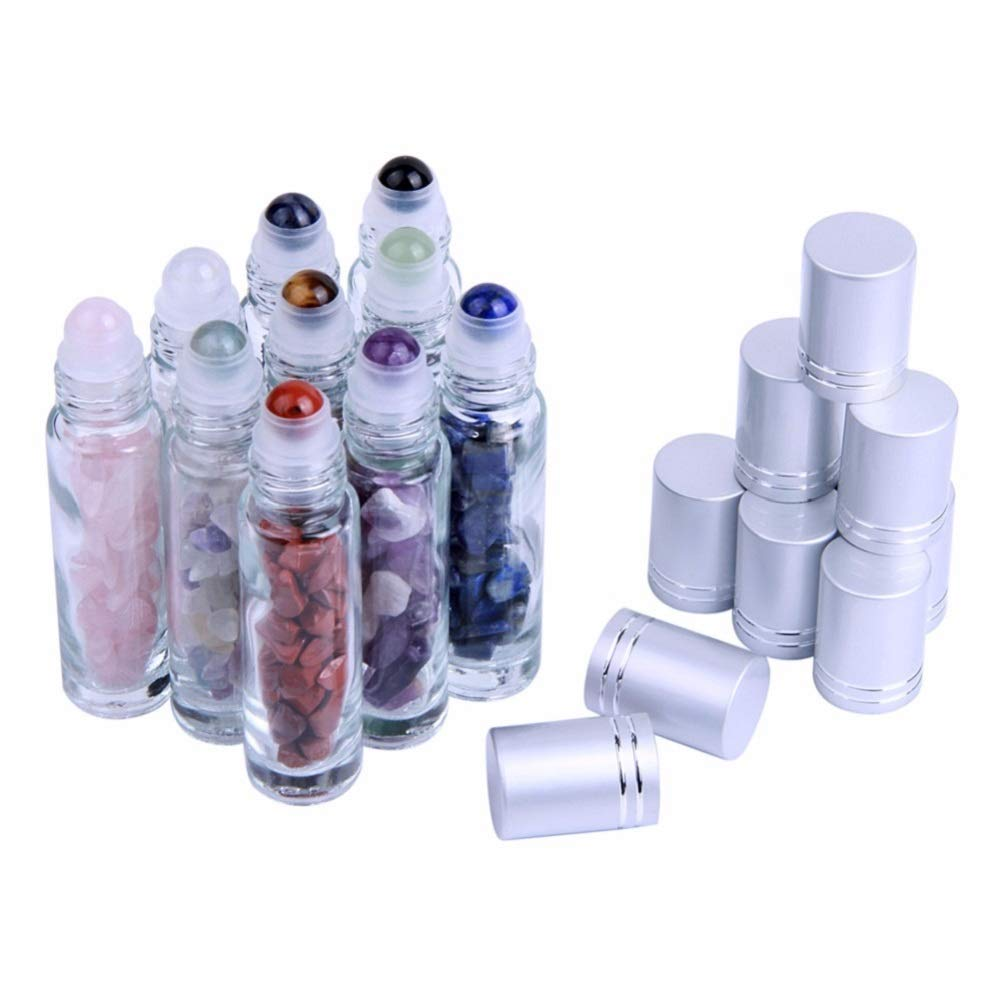 10Pcs 10ml Gemstone Essential Oil Roller Bottles Natural Semiprecious Stones Transparent Glass Roll-on Bottles with Silver Caps and Healing Crystal Chips Inside