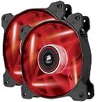 Corsair AF120 LED Ventilador para Gabinete, color Rojo, 2 Piezas
